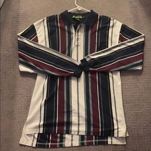 Long Sleeve Polo Shirt Vertical Stripe Rugby
